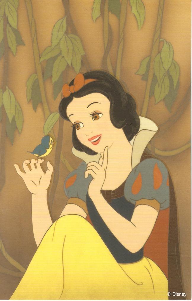 34明信片 白雪公主 白雪公主和鳥兒打招呼 複製賽璐珞片組 迪士尼藝術家