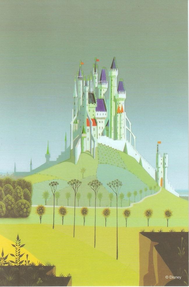 38睡美人 森林彼端的城鎮與城堡 概念圖稿 Eyvind Earle
