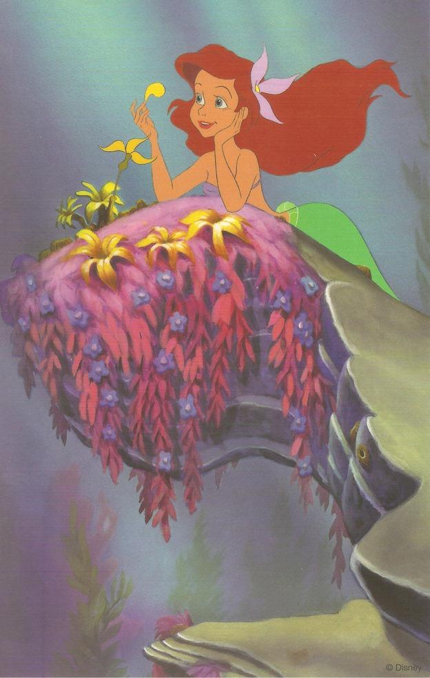 40小美人魚 艾莉兒坐在海底的岩石上 複製賽璐珞片組 迪士尼藝術家